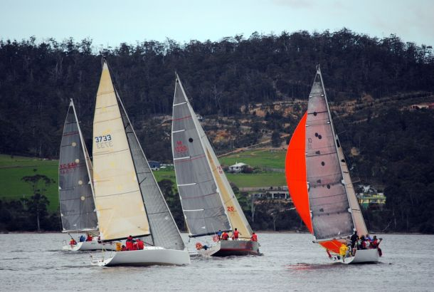The course for the Cock of the Huon takes the fleet past picturesque hills surrounding the Huon RIver. Photo Peter Campbell.