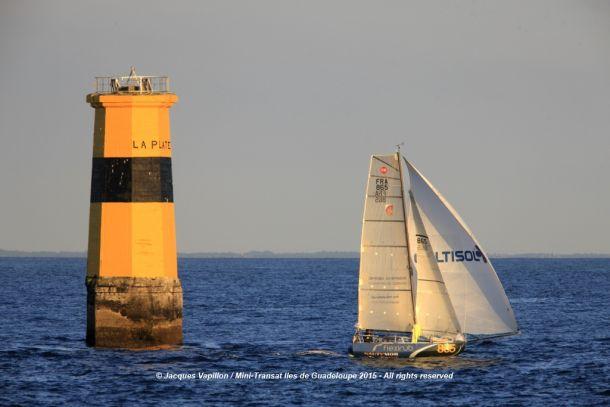 All sails up on Flexirub in the Mini Transat. Photo © Jacques Vapillon / Mini Transat Îles de Guadeloupe 2015.