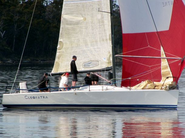 Cock of the Huon Cleopatra competing in race three of the Pipe Opener.  Photo Michelle Edwards.