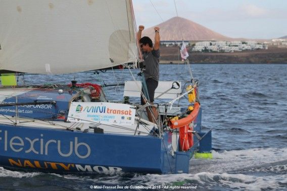 Davy Beaudart (Flexirub) winner of the first stage of the Mini Transat Iles de Guadeloupe. Photo © Jacques Vapillon / Mini Transat Îles de Guadeloupe 2015