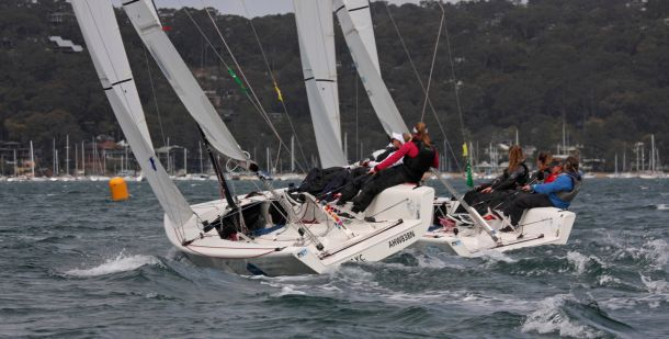 Milly Bennett (left) and Clare Costanzo. Photo Dinghy Fever Photography.