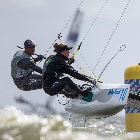 Darren Bundock and Nina Curtis (AUS) at Delta Lloyd. Photo Sander van der Borch.