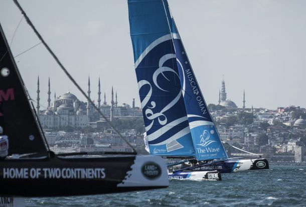 Racing against the iconic cityscape of Istanbul. Photo Lloyd Images.