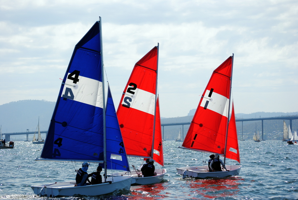 Pacer dinghies….newest boats on Opening Day. Photo Peter Campbell.