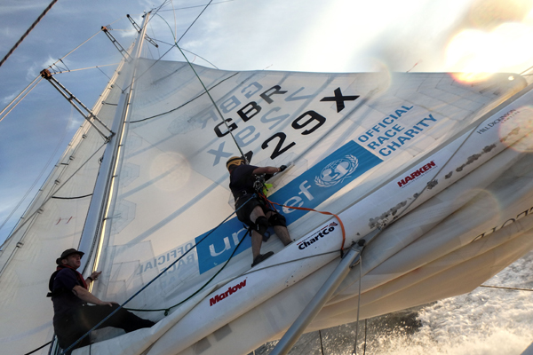 Working on Unicef in the Clipper Race. Photo Clipper Ventures.
