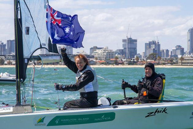 Dan Fitzgibbon and Liesl Tesch celebrate gold at the Para Worlds. Photo Terri Dodds.