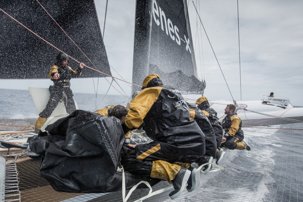 On board Spindrift 2 during the Jules Verne. Photo Yann Riou/Spindrift.