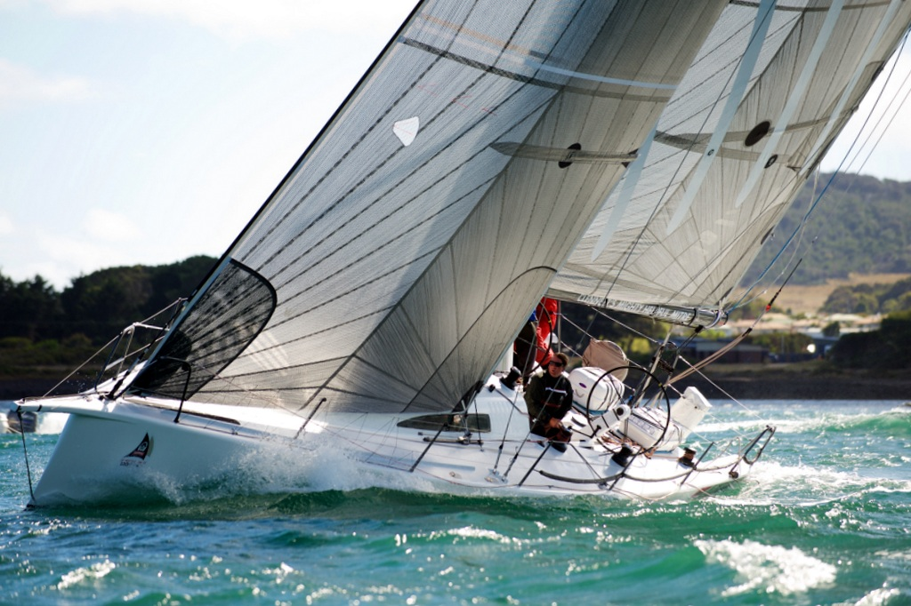 Fork in the Road powering to windward after the start last year on the Tamar River. Photo Dane Lojek.