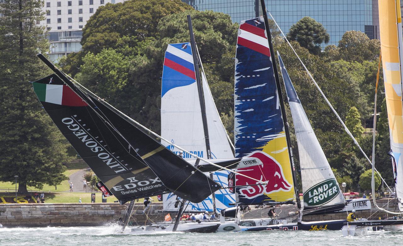 Lino Sonego Team Italia capsize on Sydney Harbour. Photo Lloyd Images.