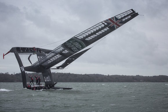T2 capsizing during training on the Solent. Photo Harry KH/ Land Rover BAR.