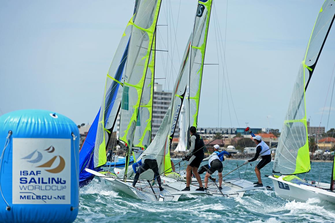 49er fleet's intense mark rounding. Photography by Jeff Crow- Sport the Library.