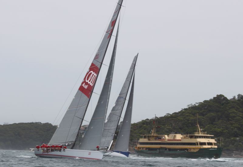 Wild Oats has the wood on Ragamuffin 100 on the first beat in the Big Boat Challenge. Photo Roger McMillan.