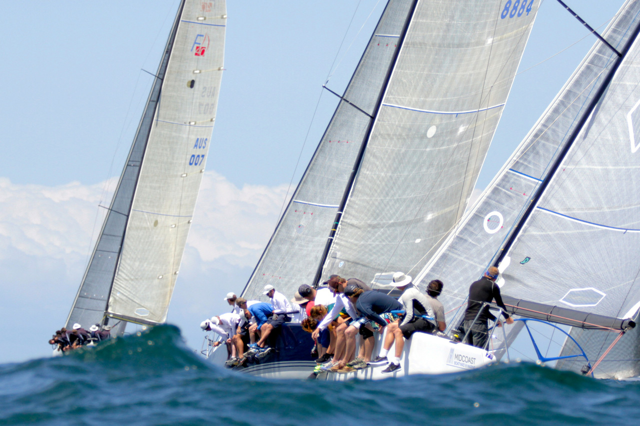 Good Form and Exile (foreground) during the Farr 40 Australian Open Series. Photo Pete Harmsen.