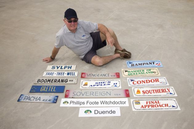 Tony Cable and skite plates from many of his 49 races. Photo Andrea Francolini