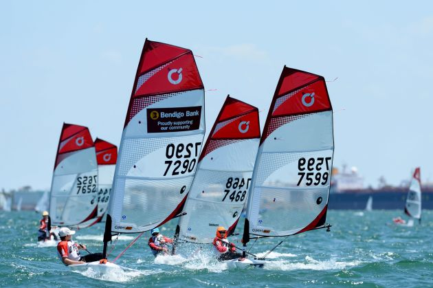 O'pen Bics at the ISAF Sailing World Cup. Photo Jeff Crow/Sport the Library.