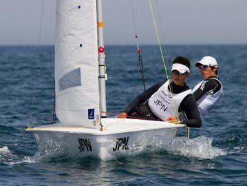 Japan's 420 Men in Tavira 2014. Photo © Neuza Aires Pereira / World Sailing.