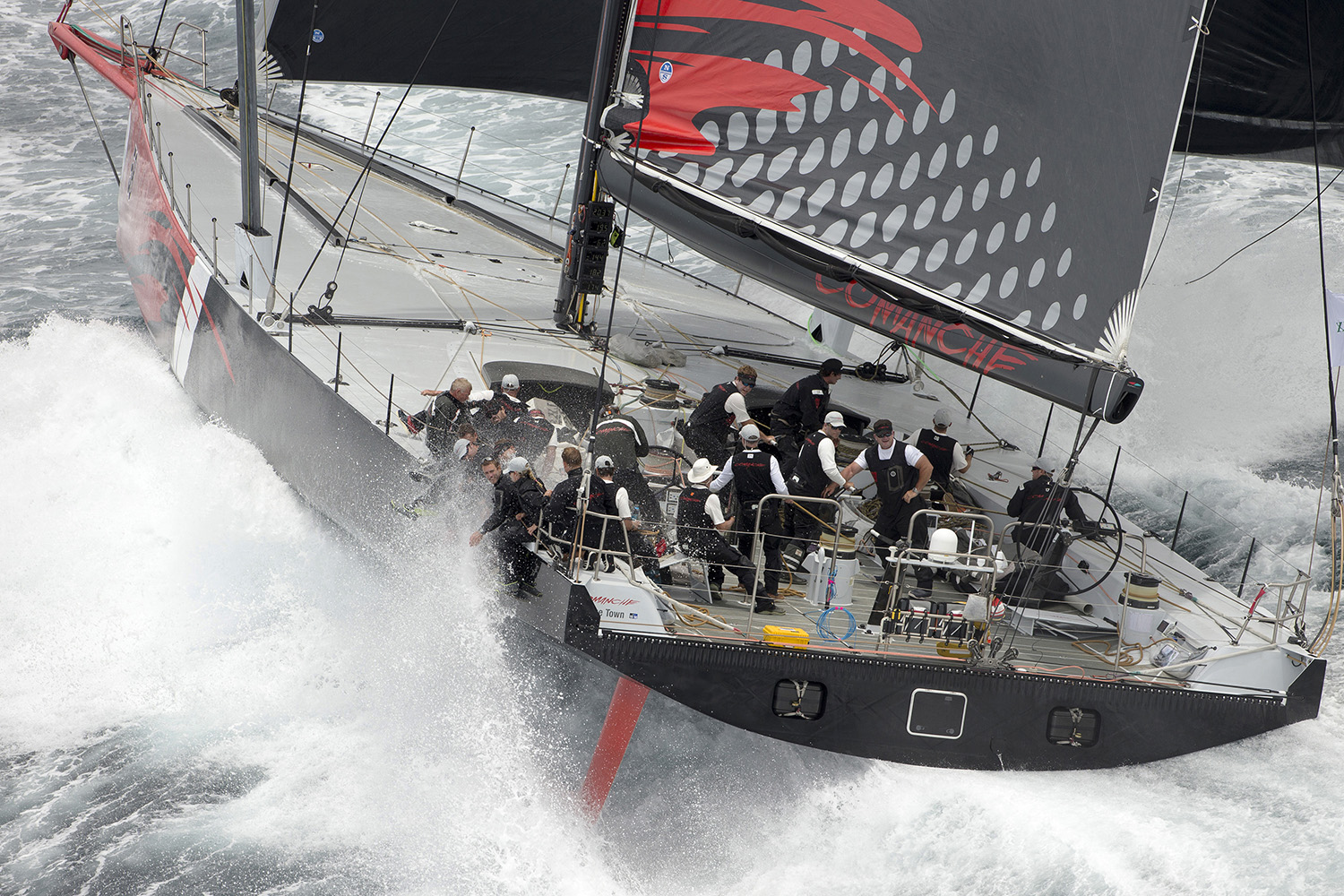 Comanche at the start of the Rolex Sydney Hobart Yacht Race. Photo Andrea Francolini.
