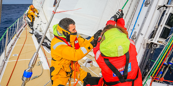 Onboard during the Sydney Hobart leg of the Clipper Race. Photo Clipper Ventures.