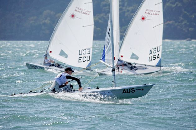Alistair Young in the Laser Radial at the 2015 Youth Worlds. Photo World Sailing.
