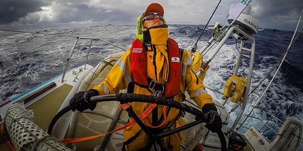 Da Nang Viet Nam crew member Marc Hundle at the wheel. Photo by by Craig Greenhill/News Corp Australia.
