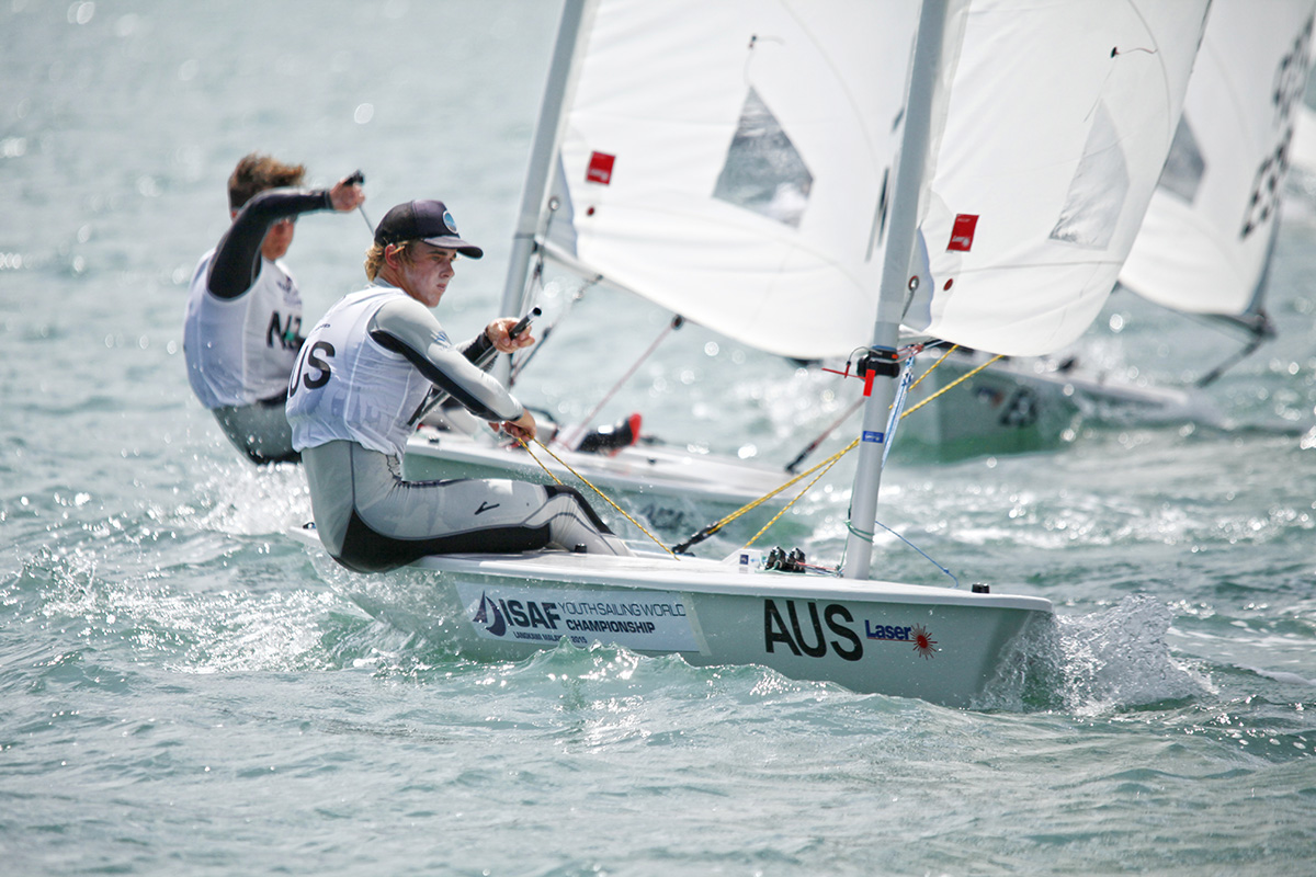 Alistair Young secured an early gold in the Laser Radial at the Youth Worlds. Photo Christophe Launay.