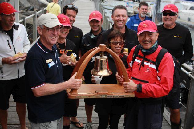 Line honours winning crew Beau Geste. Photo Stephen Collopy.