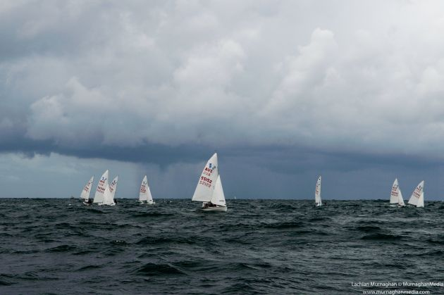 420s battle rough waves and waterspouts. Photo Lachlan Murnaghan.