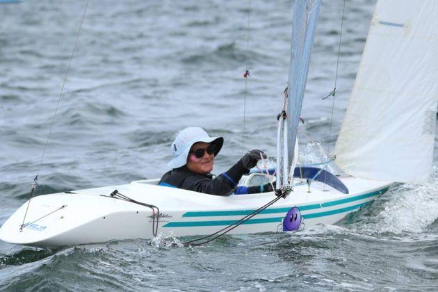 Tasmanian woman sailor Lisa Blackwood has moved up to 7th overall. Photo Angus Calvert.