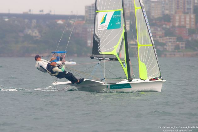 Gilmour and Brake sailing together for the first time. Photo Lachlan Murnaghan.