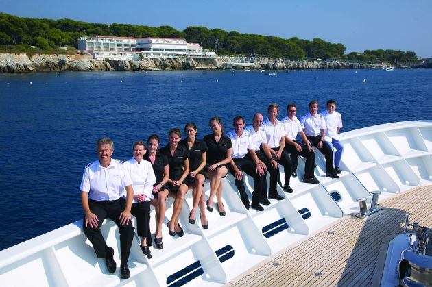 A superyacht crew on the rail. Photo William Angliss Institute.