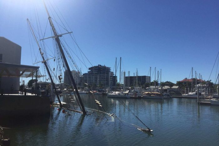 Historic tall ship Defender has sunk overnight in Townsville. (ABC North Queensland: Pat Hession)
