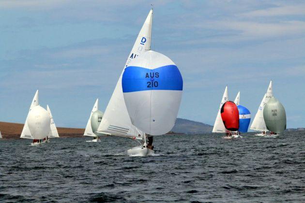 WA boat Linnea leading the fleet in an early race but had a shocker in the last race.  Photo Angus Calvert.