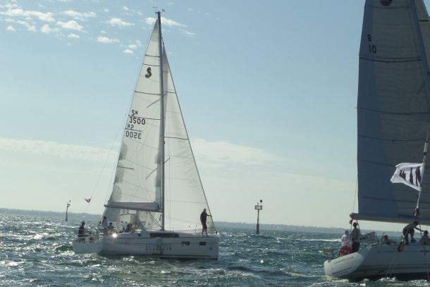 Oceanis 35 starts the first race at the Festival of Sails on Port Phillip