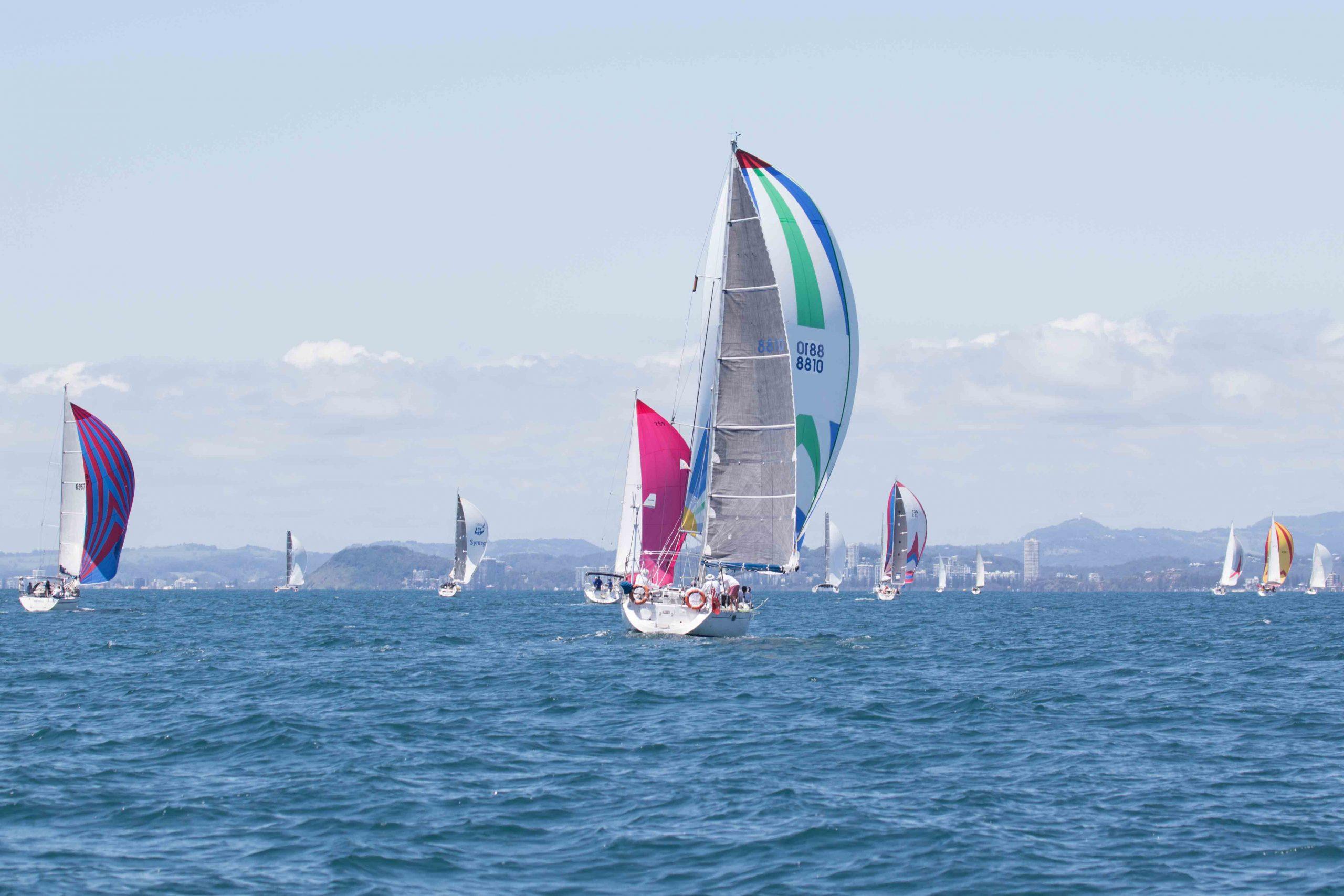 2016 Bartercard Sail Paradise fleet sailing on the beautiful waters of the Gold Coast