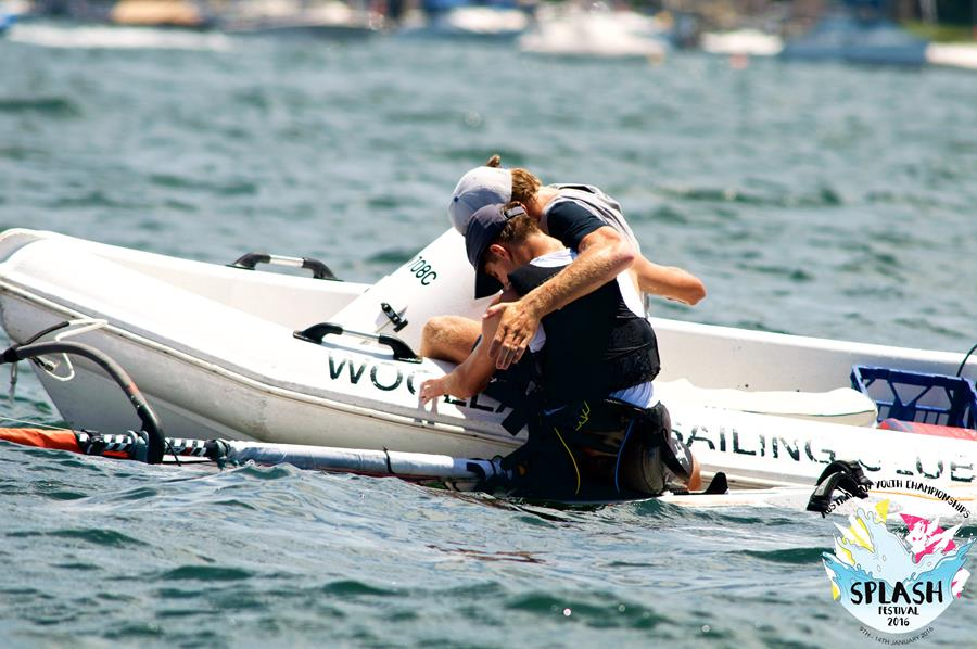 Angus Calvert is congratulated by his brother Jock for winning the Youth Worlds. Photo Splash Festival.