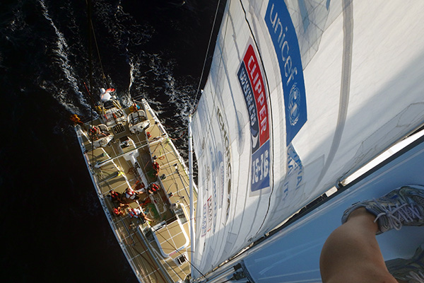 View from the top of the rig during the Clipper Race. Photo Clipper Ventures.