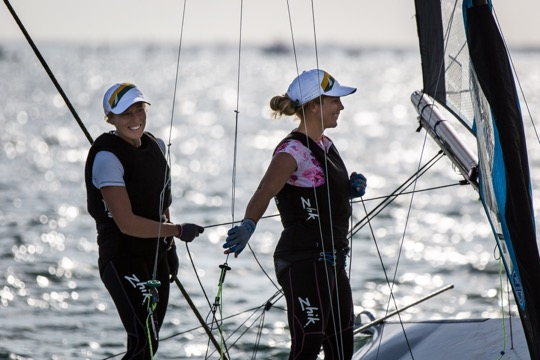 Haylee Outteridge and Nina Curtis in Miami. Photo Beau Outteridge.