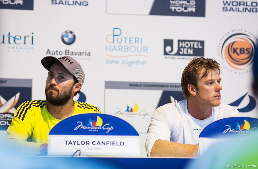A tense moment after Taylor Canfield made an announcement about having Chris Main on his team for the upcoming season at the Press Conference this evening. Photo Robert Hajduk / WMRT.