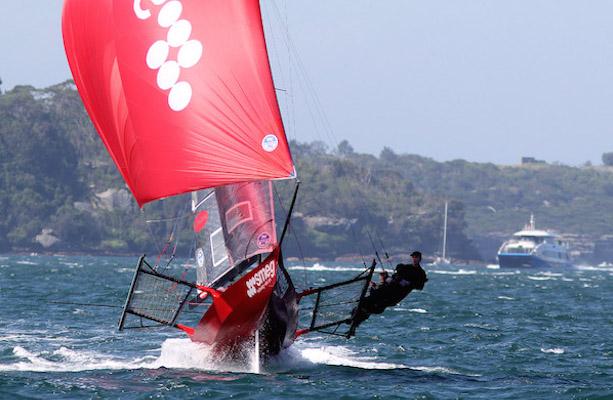 The Smeg crew show their form downwind. Photo Frank Quealey.