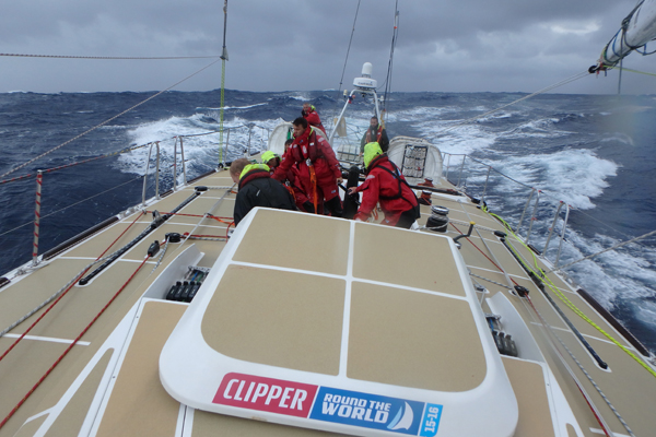 Sailing upwind during the Clipper Race. Photo Clipper Ventures.