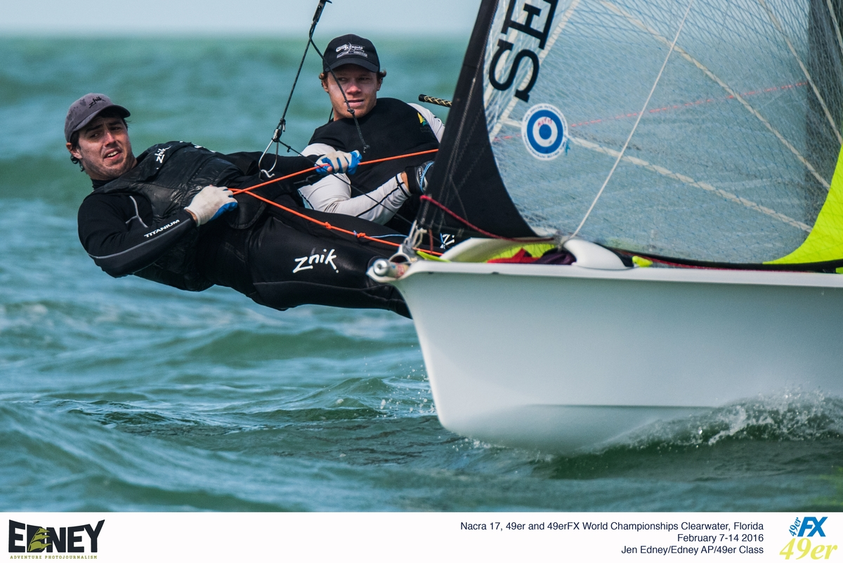 Nathan Outteridge and Iain Jensen at the 2016 49er Worlds. Photo Edney.