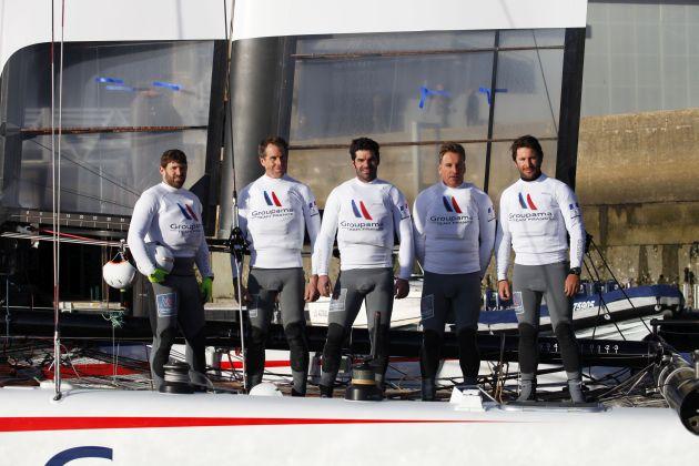 Oman Groupama Team France Crew. From left to right Devan Le Bihan
