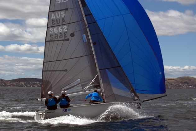 SB20 Export Roo planing on the Derwent on Saturday. Photo Peter Campbell.
