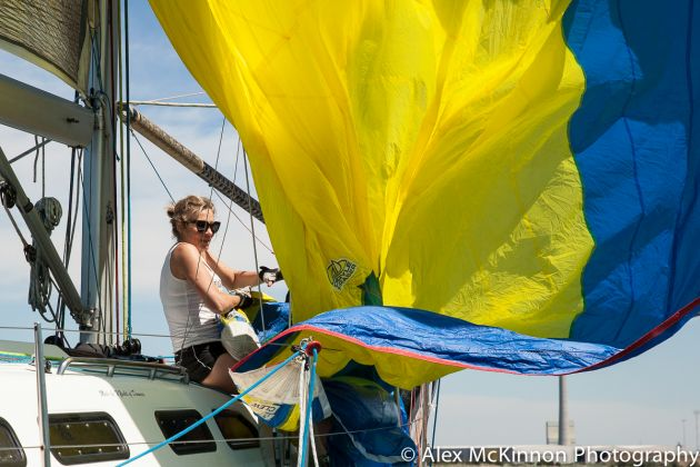 On the foredeck at the Women's Championship Series 2016. Photo Alex Mckinnon.