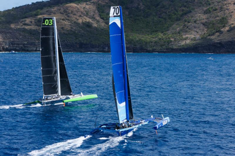 Battle of the MOD70s: Lloyd Thornburg's Phaedo3 and Tony Lawson's Concise 10 at the start © RORC/Tim Wright.