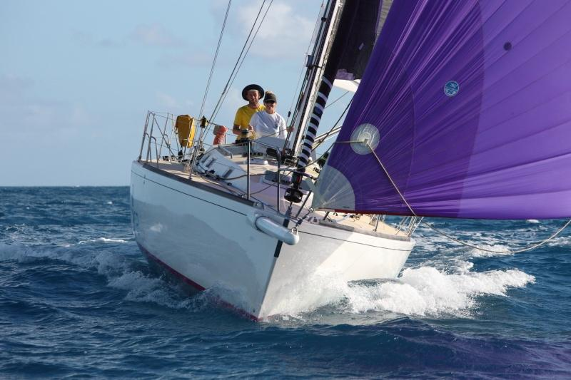 Elin Haf Davies and Christ Frost win the IRC Two Handed class on Nunatak. Photo RORC/Tim Wright at Barbuda.