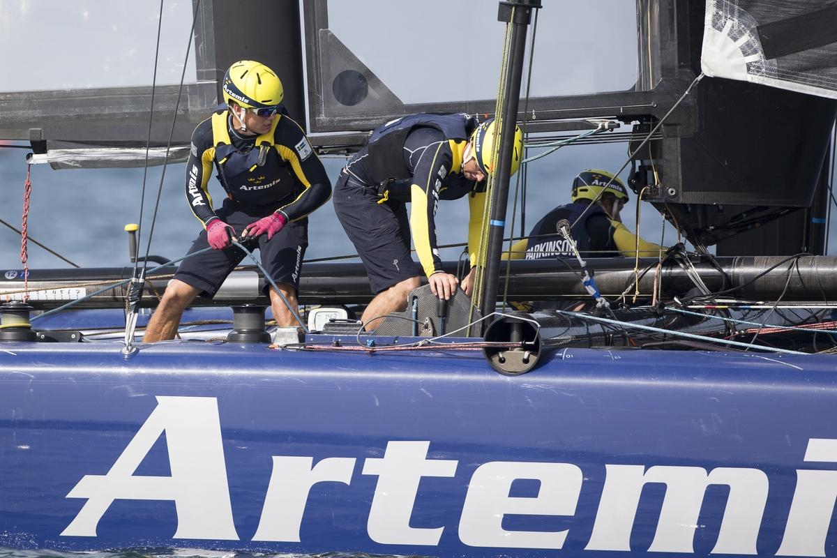 Artemis Racing during the practice races in Oman. Photo Sander van der Borch / Artemis Racing