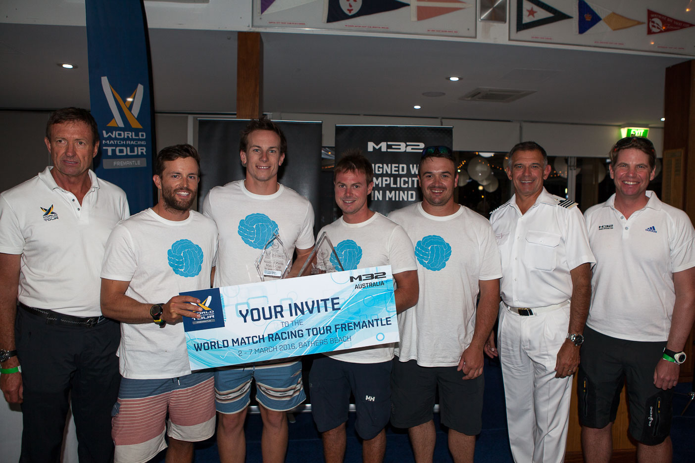 A delighted Evan Walker (second from left) receives his invitation to the World Match Tour Event at Fremantle next week after winning the South of Perth Match Cup. Photo Bernie Kaaks.