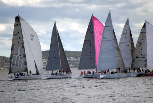 Group A fleet starts the final race of the Hobart Combined Club Long Raace Series. Photo Peter Campbell