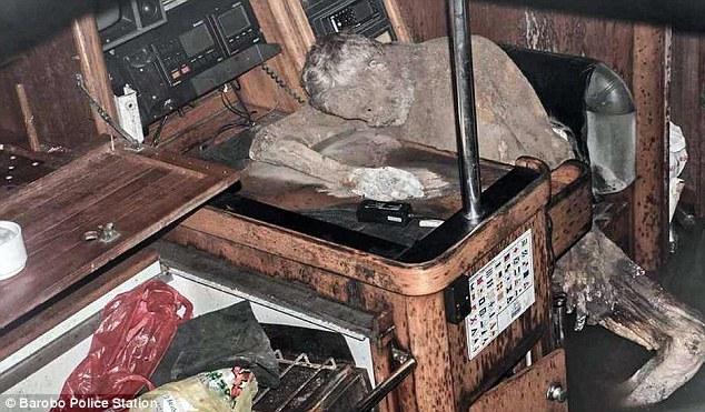 The mummified corpse of Manfred Bajorat. Photo Barabo Police Station.